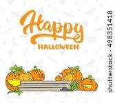 happy halloween   party hand... | Shutterstock .eps vector #498351418