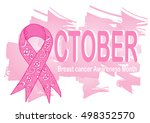 ornate ribbon of breast cancer... | Shutterstock .eps vector #498352570