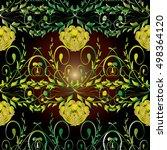 vintage  baroque damask floral... | Shutterstock .eps vector #498364120