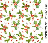 vintage holly berry background  ... | Shutterstock .eps vector #498364450