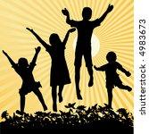 four children jumping with sun...   Shutterstock .eps vector #4983673