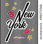 slogan new york vector print... | Shutterstock .eps vector #498372568