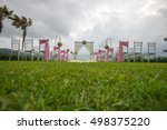 beautiful  wedding setting on... | Shutterstock . vector #498375220