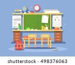 classroom interior design | Shutterstock .eps vector #498376063