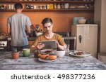 enjoying their morning routine | Shutterstock . vector #498377236