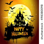 halloween party greeting card ... | Shutterstock .eps vector #498380098