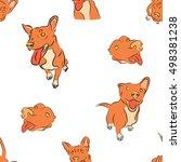 seamless red dog puppy kids... | Shutterstock .eps vector #498381238