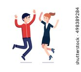 happy jumping business people... | Shutterstock .eps vector #498389284