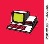 old personal computer. vector... | Shutterstock .eps vector #498393808
