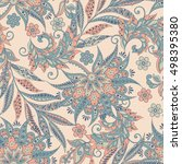 vintage vector floral seamless... | Shutterstock .eps vector #498395380
