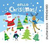christmas card with santa  deer ... | Shutterstock .eps vector #498406480