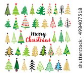 christmas tree hand drawn set.... | Shutterstock .eps vector #498407518