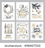 christmas hand drawn cards with ... | Shutterstock .eps vector #498407533