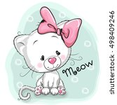 cute cartoon white kitten on a... | Shutterstock . vector #498409246