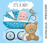 greeting card its a boy with... | Shutterstock . vector #498410389