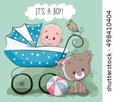 greeting card it is a boy with... | Shutterstock . vector #498410404