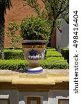 Small photo of Ceramic jar of the Real Alcazar Palace in Siviglia.10 August 2016 Seville-Spain