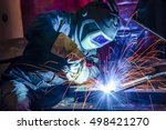 welder  craftsman  erecting... | Shutterstock . vector #498421270