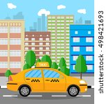 urban cityscape with taxi cab.... | Shutterstock . vector #498421693