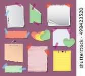 paper banners and notes icons... | Shutterstock .eps vector #498423520