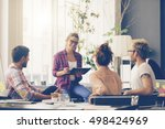 young business people working... | Shutterstock . vector #498424969