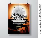 vector halloween party flyer... | Shutterstock .eps vector #498426730