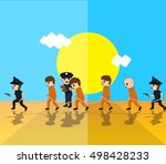police with criminals vector... | Shutterstock .eps vector #498428233
