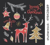 christmas set with wishes and... | Shutterstock .eps vector #498428689