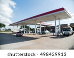 blurred of gas station with car ... | Shutterstock . vector #498429913