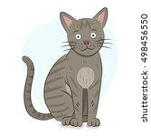 cute grey cat illustration | Shutterstock .eps vector #498456550