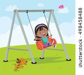 little girl on a swing | Shutterstock .eps vector #498458488