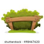 cartoon hedge with wood barrier ... | Shutterstock .eps vector #498467620