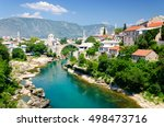 old bridge in mostar  bosnia... | Shutterstock . vector #498473716