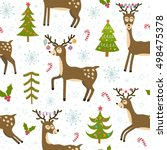 cute christmas deers seamless... | Shutterstock .eps vector #498475378