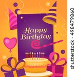 happy birthday banner with gift ... | Shutterstock .eps vector #498479860