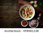 green chicken curry over wooden ...   Shutterstock . vector #498481138