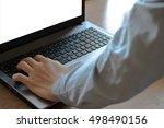men computer press | Shutterstock . vector #498490156