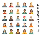 people faces avatars vector... | Shutterstock .eps vector #498492259