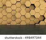 floor with wooden hexagons... | Shutterstock . vector #498497344
