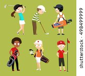 Kids Playing Golf Vector...