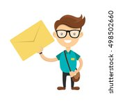 young courier or postman... | Shutterstock .eps vector #498502660