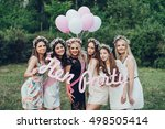 girlfriends and bride celebrate ... | Shutterstock . vector #498505414