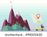 flat vector car escape to...   Shutterstock .eps vector #498505630