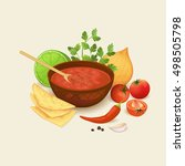 salsa sauce and ingredients... | Shutterstock .eps vector #498505798