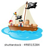 two pirates sailing the boat... | Shutterstock .eps vector #498515284