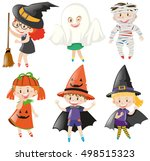 boys and girls in halloween... | Shutterstock .eps vector #498515323