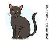 cute grey british cat...   Shutterstock .eps vector #498516706