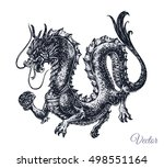 chinese and japanese dragon  ... | Shutterstock .eps vector #498551164