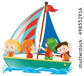 kids in a yacht sailboat | Shutterstock .eps vector #498552916