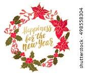 merry christmas wreath  new...   Shutterstock .eps vector #498558304